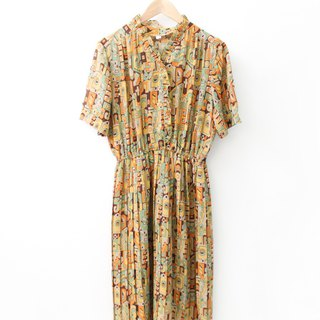 Japan made a retro geometry printing yellow short-sleeved vintage dress