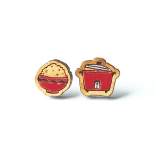 Painted wood earrings-Rice Cooker (red)
