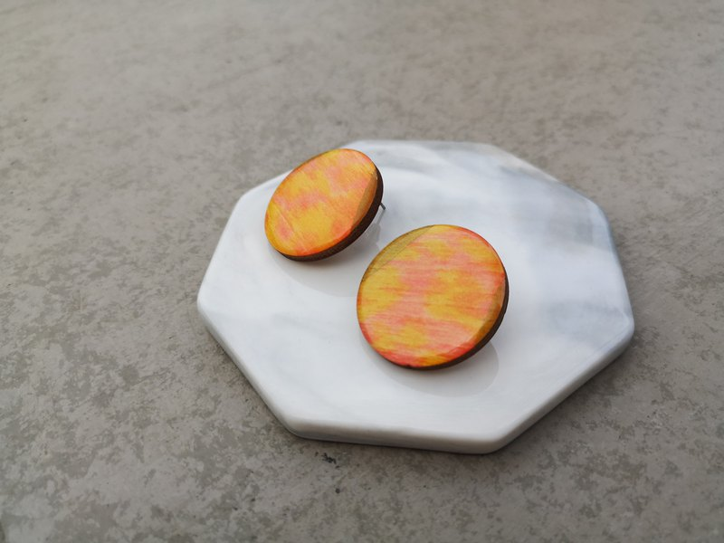 Yellow Pink Hand-painted Wooden Ear Studs-Ear Pin Earrings Wooden Sensitive Stainless Steel Eye-catching
