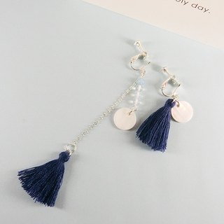 Aqua Blue River Original Natural Stone Beaded Silver Earrings │ Blue Department Draped Fringe