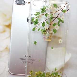 Pressed flowers phone case, Fit for iPhone 7 plus,iPhone 8 plus, white plum
