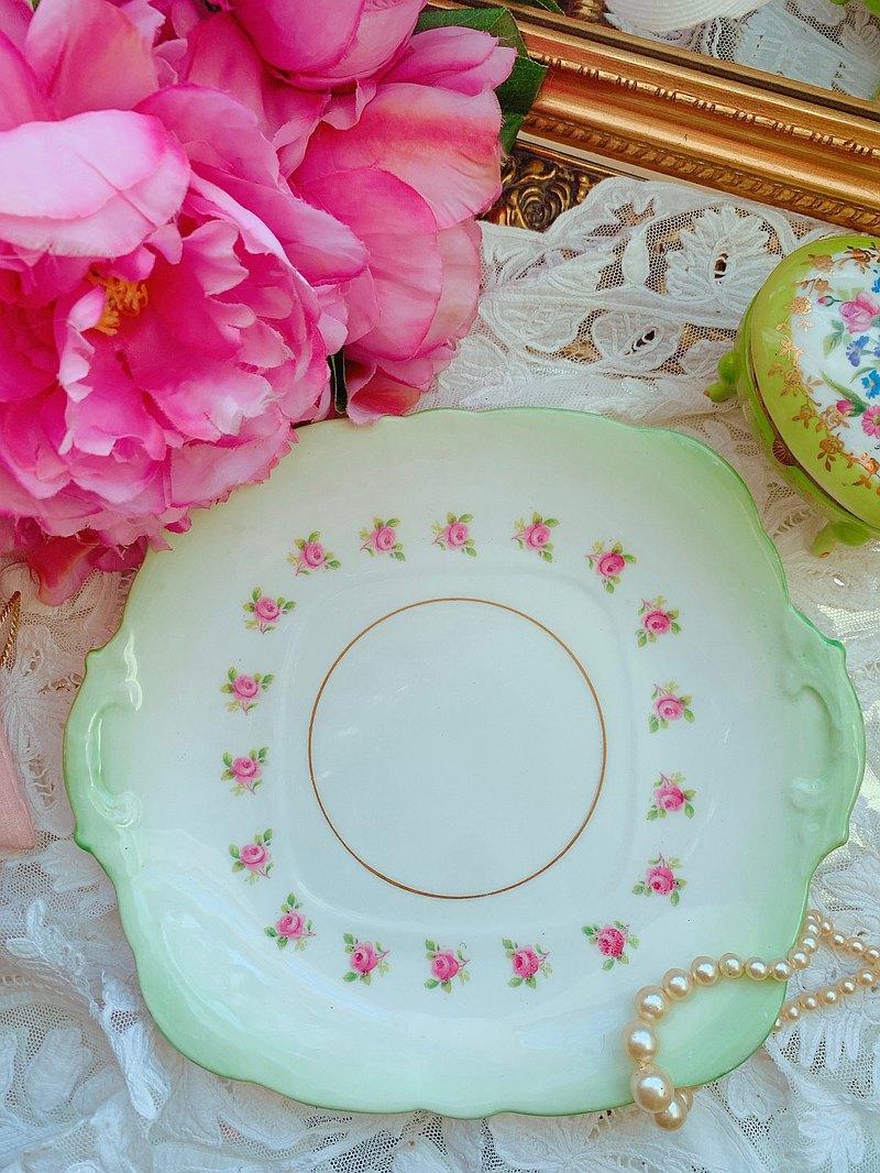 英國製骨瓷古董手繪湖水綠玫瑰蛋糕盤 點心盤狀況完整庫存品