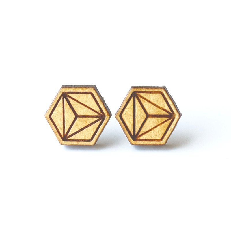 Plain wood earrings-Three hexagonal