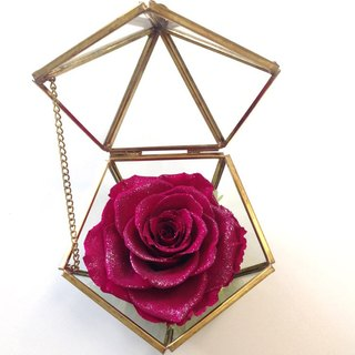 Copper-gold pentagonal diamonds are not withered glass jewelry box Diamond Rose series