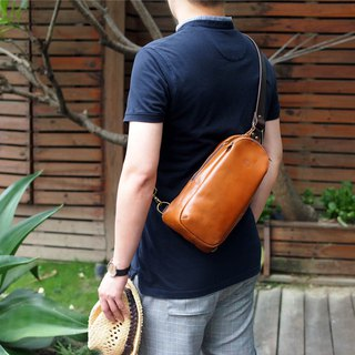 City Adventure Japanese Leather Side Backpack Made in Japan by by LESS DESIGN