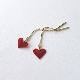 mini heart pierced earrings or clip-on earrings <red>