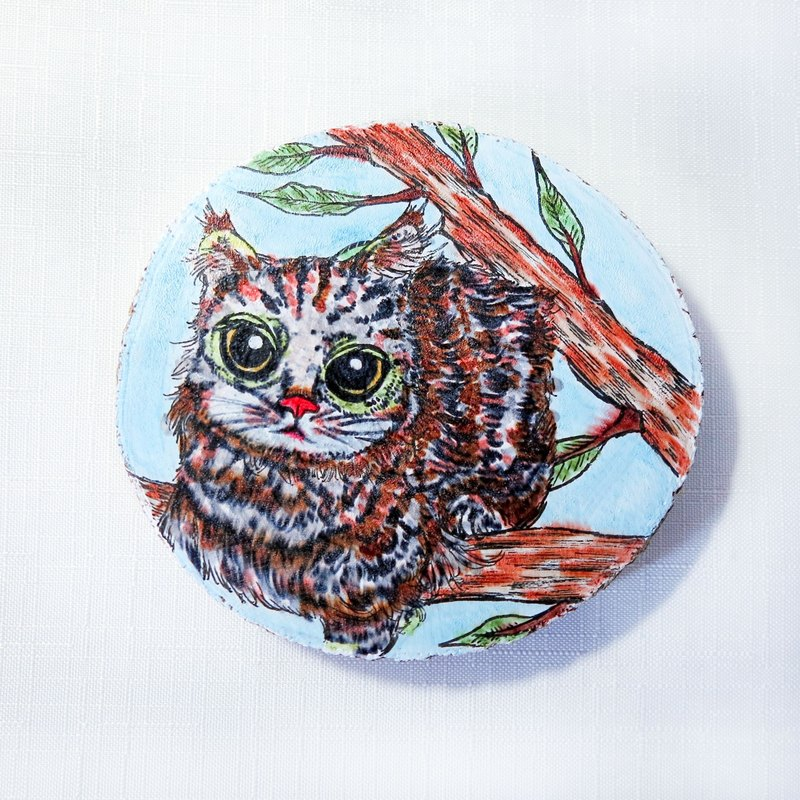 Limited - healing hand-painted wood painting (coasters) - cozy cat