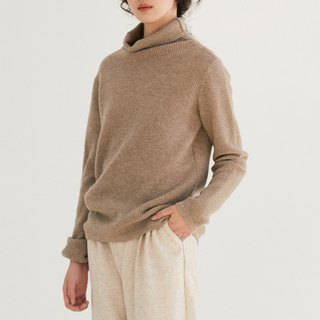 Khaki Camel Soft Waffle Cashmere Wool Blend Sweater Cashmere Australian Wool Turtleneck Sweater