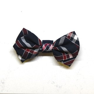 Handmade Tartan/ Plaid Pet Dog Collar Accessory - Bowtie - Navy Blue【ZAZAZOO】