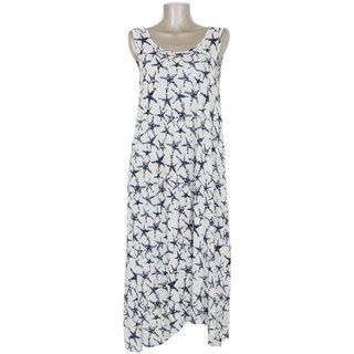 Starfish print Sleeveless Dress <White>