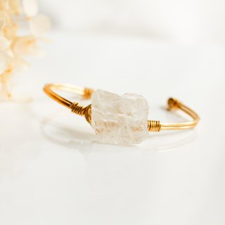 White crystal stone bracelet opening copper*solitary*