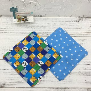 G18-feel soft gauze handkerchief (six layers of gauze) double-sided pattern animal chessboard & denim stars