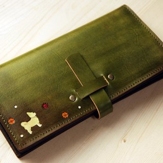 [Father's Day] [Leather Carving Series] [Planted Leather Long Clip] Inserted Dog Olive Green Leather Long Clip