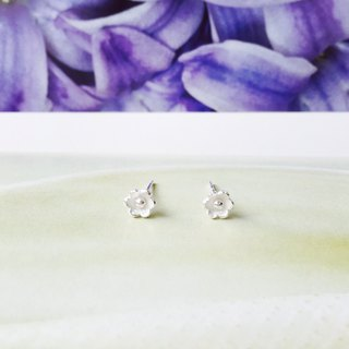 925 sterling silver matte cute [flower series evening primrose flower ear pin]