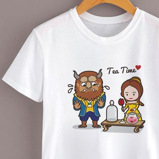 Afternoon Tea Short Sleeve Cotton T-Shirt for Beauty and the Beast - White
