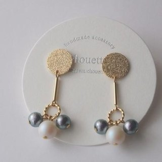 【14kgf】 Gold Plated Cotton Pearl Earrings