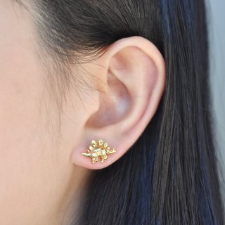 二毛银[Childhood Taste - Stegosaurus solid brass earrings] Can mix and match dinosaurs into a pair