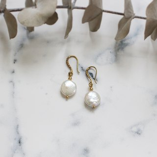 Simple Oblate Freshwater Pearl Earrings
