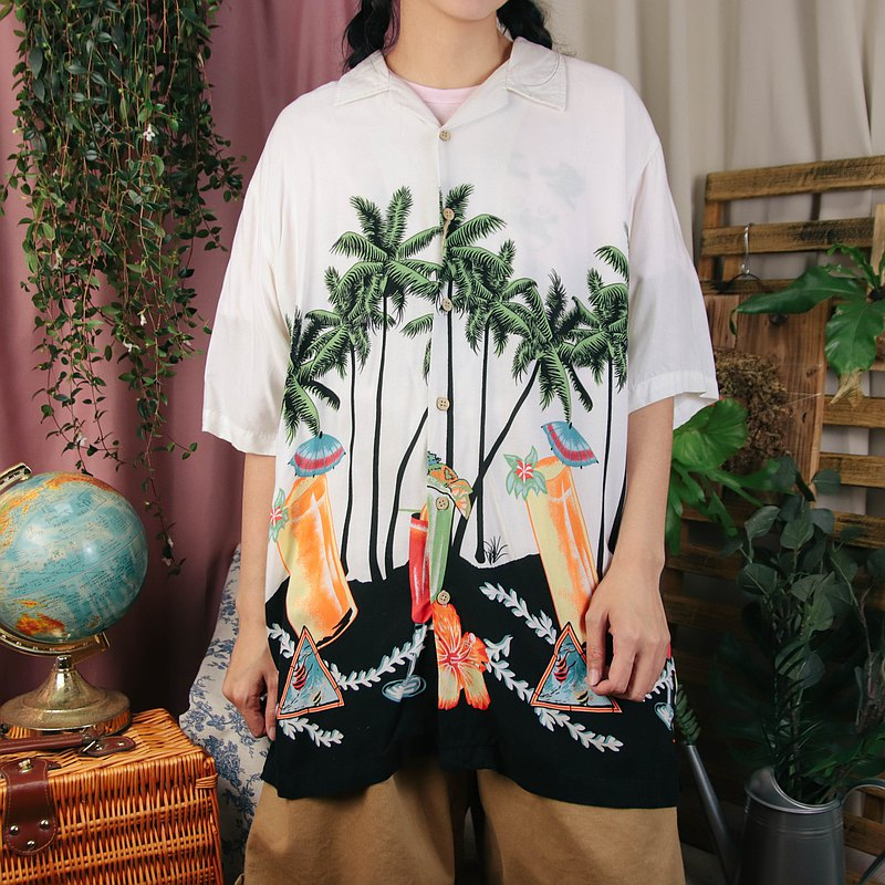 Hawaiian Shirt C03 White Floral Shirt Printed Summer Top [Tsubasa.Y Ancient House]