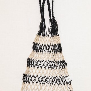 Hand-woven fish net bag (black gold color)
