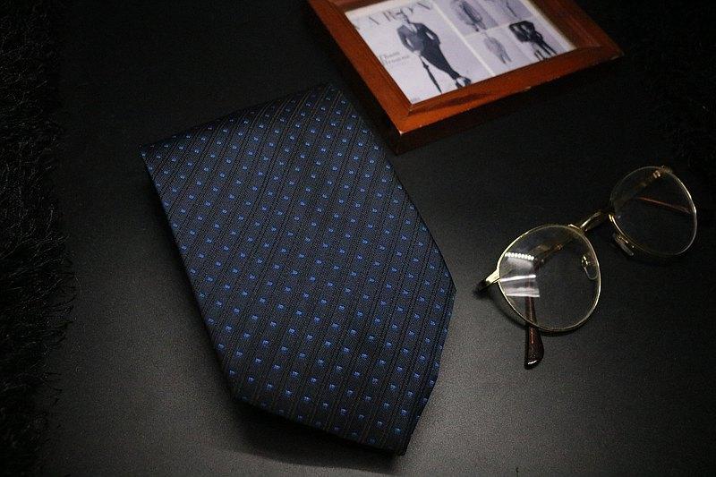 黑色藍波點真絲領帶/紳士正裝necktie