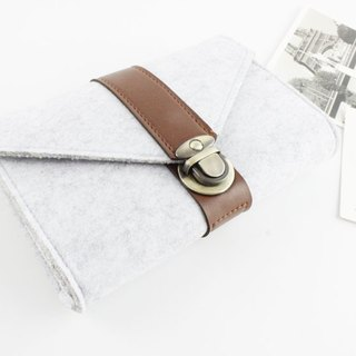 [Can be customized] original pure handmade light gray felt elastic belt camera bag mouse bag mouse bag power cord bag charger bag charger package package 3C surrounding storage package transmission line storage package (can be customized) - 127