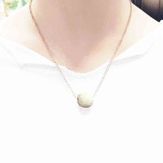 Titanium Steel Rose Gold Diffuser Necklace - White 14mm Big Bead Aroma Rock