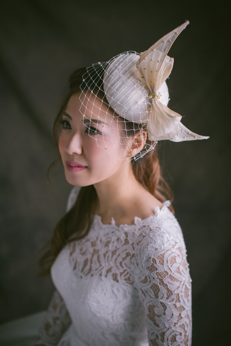 """Being of Love"" British-style three-dimensional bow bridal hat / Western-style wedding ornaments handmade headdress married Fa"