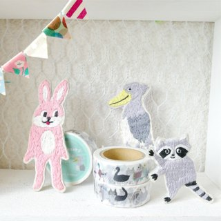 Masking tape embroidery horseradish and animals