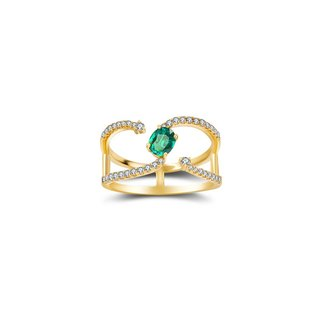 Single Emerald Connected Diamond Ring