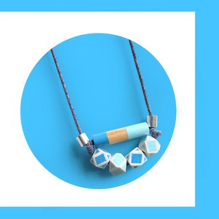 Puppets hexagonal wood plaid pattern blue gradient long necklace