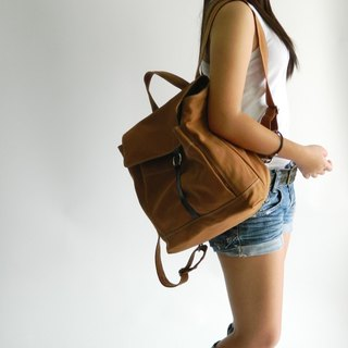School backpack / travel bag / canvas laptop bag - TANYA in Tea (no.102)