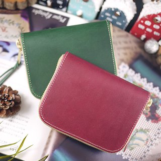 Warm Christmas Italian vegetable tanned leather / classic short clip / wallet / wallet / coin purse (dark red. dark green)