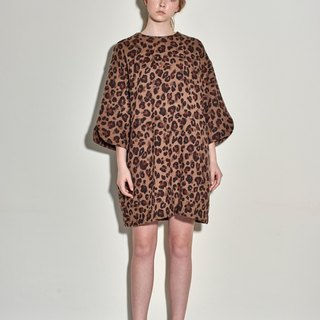 Leopard wool loose five points show dress