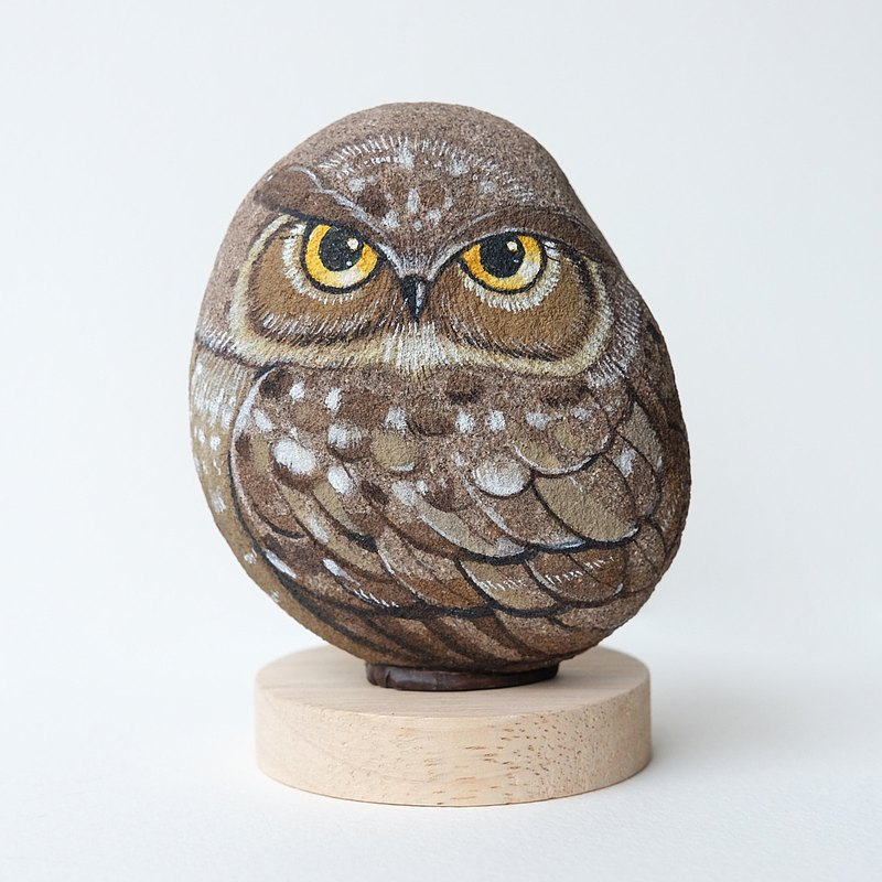 Owl stone painting, Original art,Stone Art Paint by Acrylic Colour, Unique.