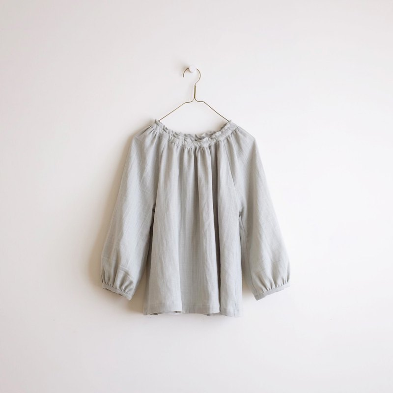 Daily hand-made suit almond green puff sleeve elastic blouse cotton double yarn