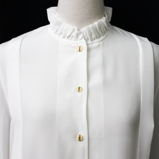 [RE0407T1930] Nippon French Department of Forestry retro minimalist white collar vintage shirt