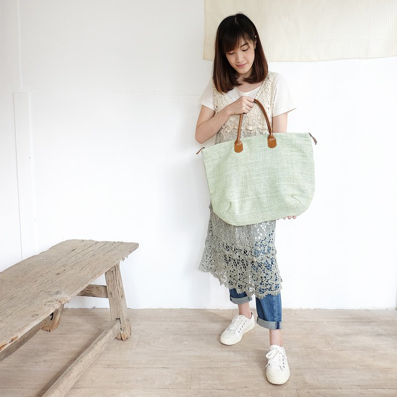 Oversize Sweet Journey Bags Handwoven and Botanical Dyed Cotton Green Color