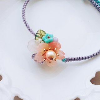 momolico cherry blossom macrame bracelet with waxed cord