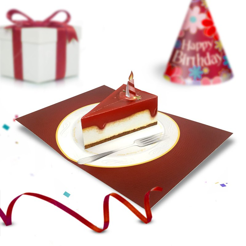 草莓芝士蛋糕生日賀卡|生日彈出卡|祝你生日快樂卡