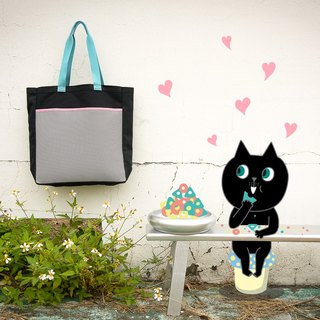 < Chic Tote Bag/ Black kitten loves dry food >#Canvas shopping bag