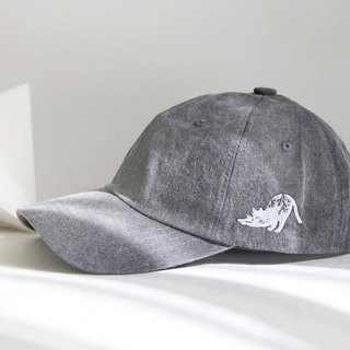 Cat geometric forest curved eaves old hat: dark gray