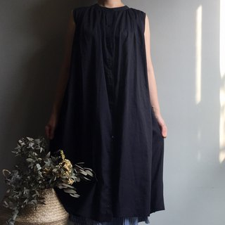 Black swan black slit sleeveless long blouse / dress only one