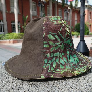 Batik series flower carp fisherman hat _ patchwork section _ coffee _ ginkgo leaf