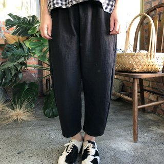 Natural cotton texture washed double thick cotton tubular pants