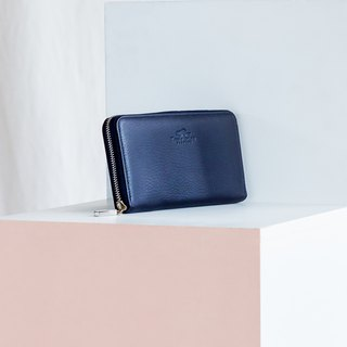 LUCKY - MINIMAL SOFT COW LEATHER WOMAN LONG WALLET-NAVY/BLUE