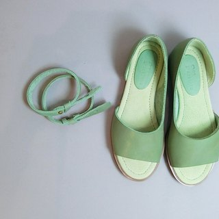 Painting # 8064 || calfskin geometric incision with two wear open toe shoes matcha latte ||