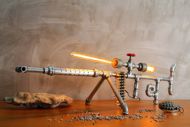 [Kuleqi Studio] sniper rifle table lamp / industrial wind / birthday gift / metal lamp
