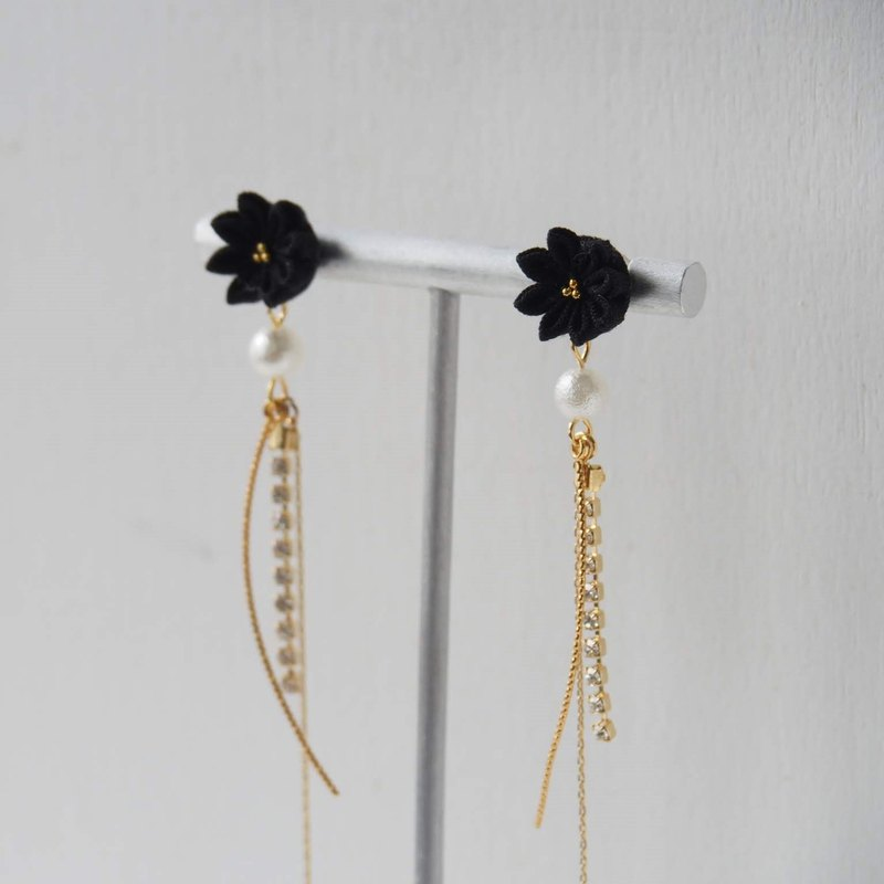 Chic Black Flower and Crystal Earrings Clip-on 14KGF, S925 custom