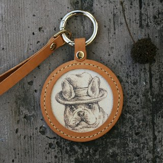 Handmade leather - pet sketch key ring - French bulldog / can be engraved English name
